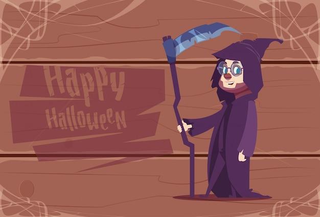 Cute kid wear death costume, happy halloween celebration concept Premium Vector