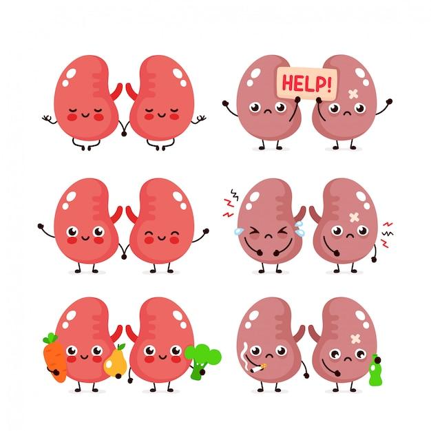 Симпатичные почки установлены. здоровый и нездоровый человеческий орган. Premium векторы
