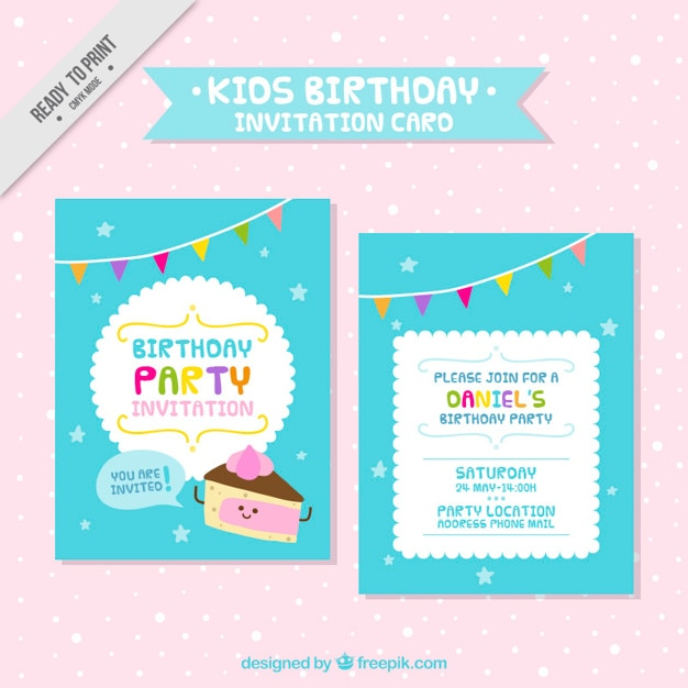 Cute Kids Birthday Card Vector Free Download