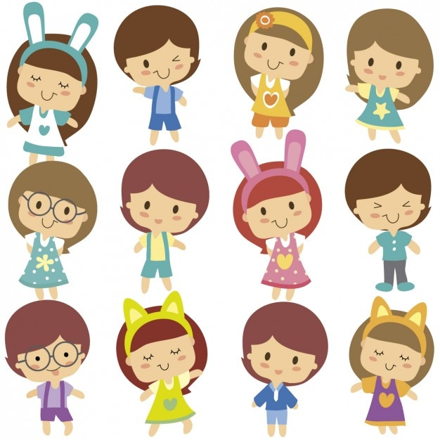 Cute Kids Character Vector Free Download