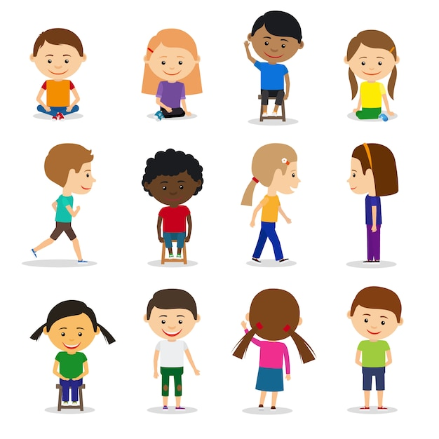 Cute kids characters in different position vector set Premium Vector