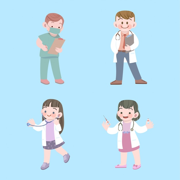 Cute kids doctor and nurse job collection with stethoscope Premium Vector