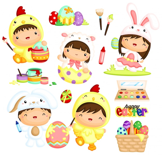 Cute kids in easter costume painting eggs Premium Vector