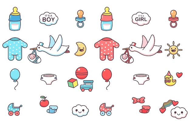 Cute kids elements for baby shower party vector cartoon set isolated on a white space. Premium Vector