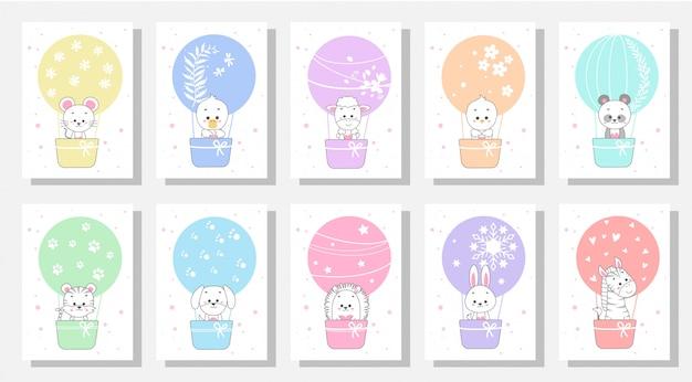 Cute kids greeting cards Premium Vector