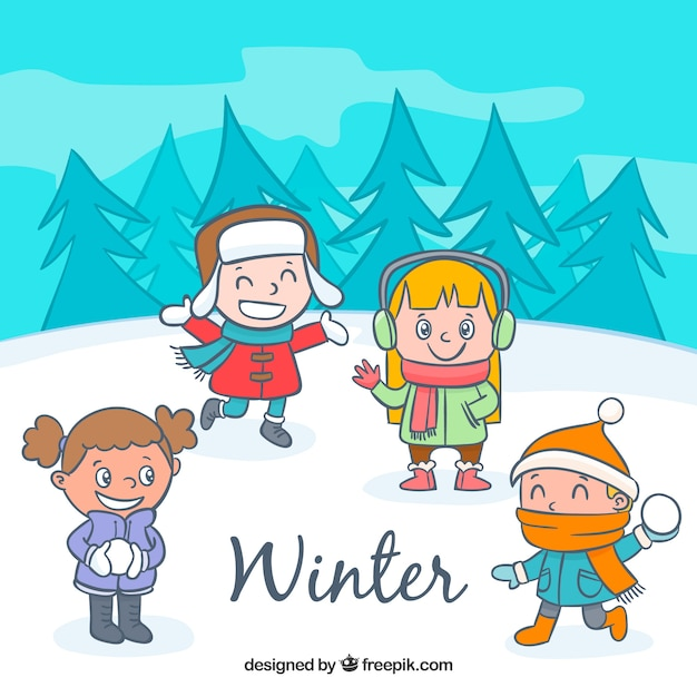 cute kids having fun in the snow free vector