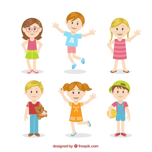 cute kids illustration in colorful style free vector