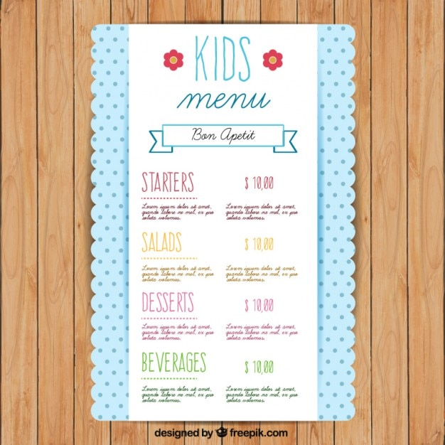 Cute Kids Menu Template With Dots Premium Vector  Kids Menu Templates
