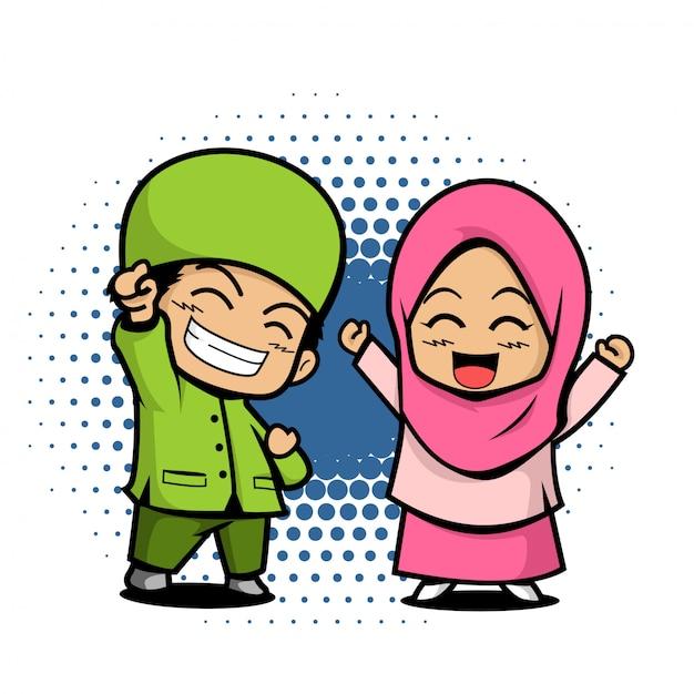 Cute kids moslem couple illustration Premium Vector