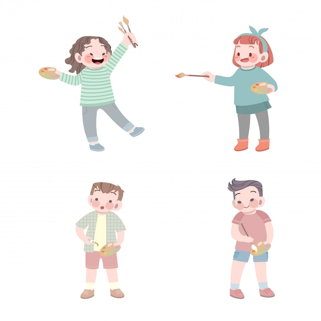Cute kids painter job with palette and brush collection Premium Vector