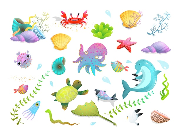 Cute kids sea creatures set: dolphin, sea star, fishes and squid, crab and other amusing underwater creatures. cartoon. Premium Vector