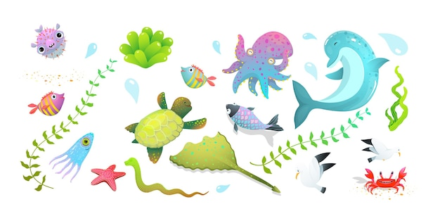 Cute kids sea creatures set: dolphin, sea star, fishes and squid, crab and other amusing underwater creatures. Premium Vector