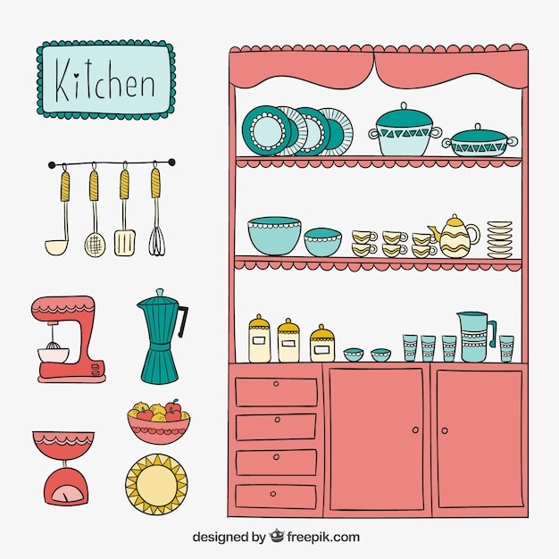 Cute Kitchen In Hand Drawn Style Free Vector