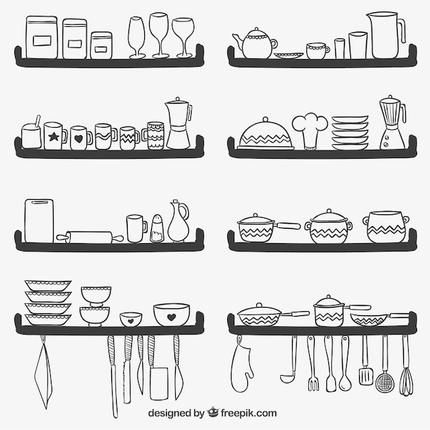 Cute kitchen utensils on shelves Free Vector