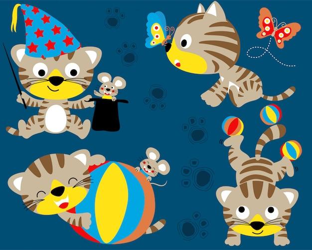 Cute kitten cartoon set Premium Vector