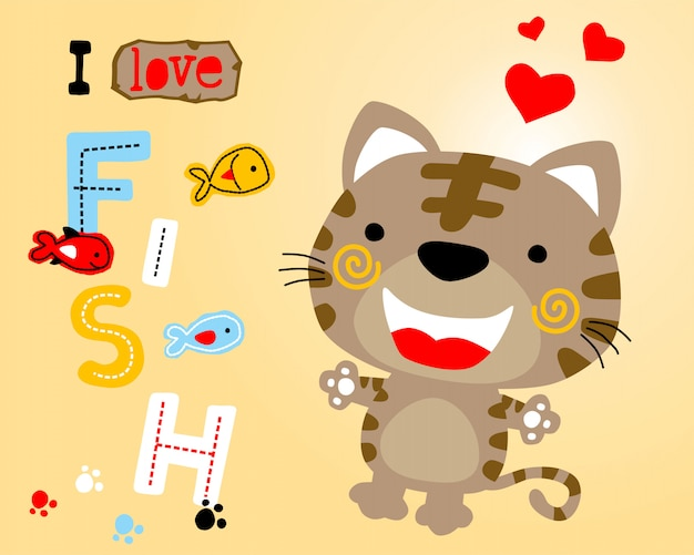 Cute kitten cartoon with colorful fishes Premium Vector