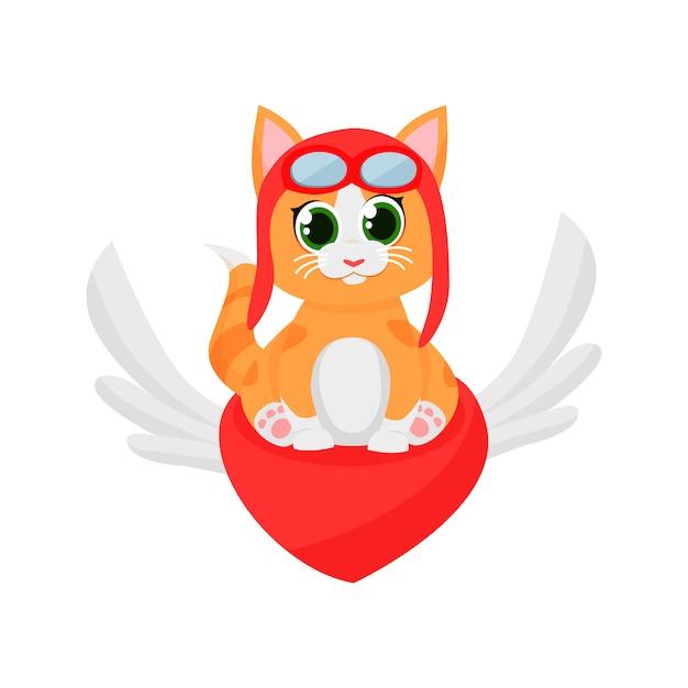 Cute kitten pilot flying on red heart Free Vector