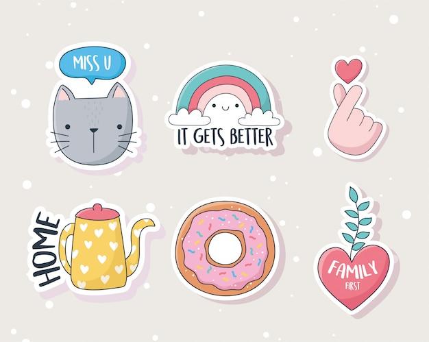 카드 스티커 또는 패치 장식 만화 귀여운 새끼 고양이 무지개 심장 도넛 주전자 물건 프리미엄 벡터
