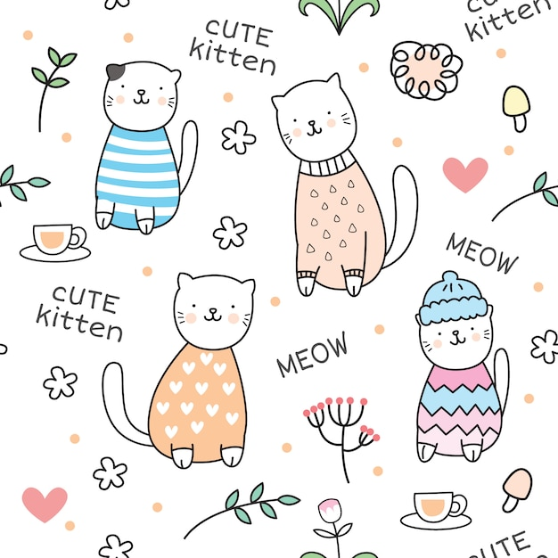 Cute kitten seamless pattern Premium Vector