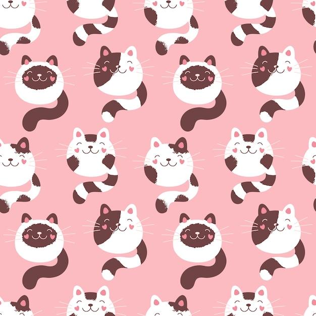 かわいい子猫のシームレスなパターン、ふわふわの猫。テキスタイル、パッケージ、ファブリック、壁紙のピンクプリント。 Premiumベクター