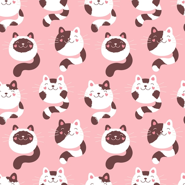 Premium Vector Cute Kittens Seamless Pattern Fluffy Cats Pink Print For Textiles Packaging Fabric Wallpaper