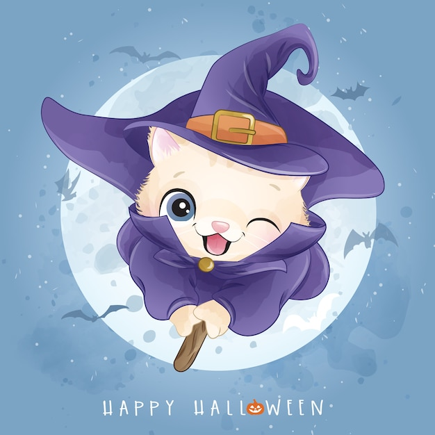 Cute kitty for halloween day with watercolor illustration Premium Vector