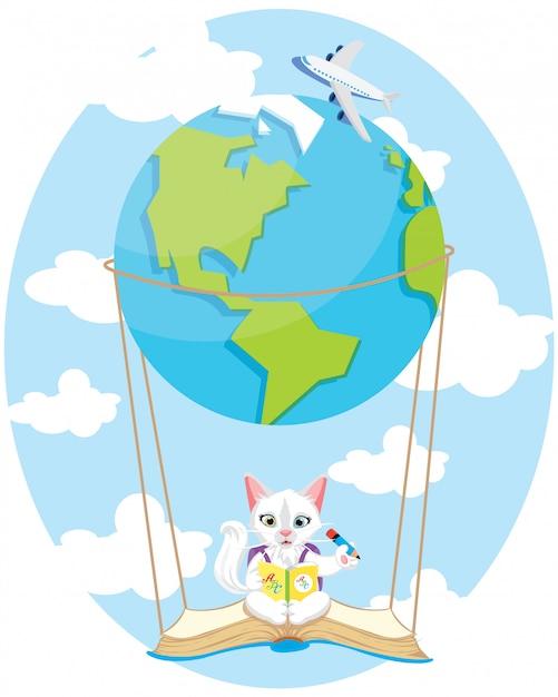 空気地球バルーンでかわいい子猫 Premiumベクター