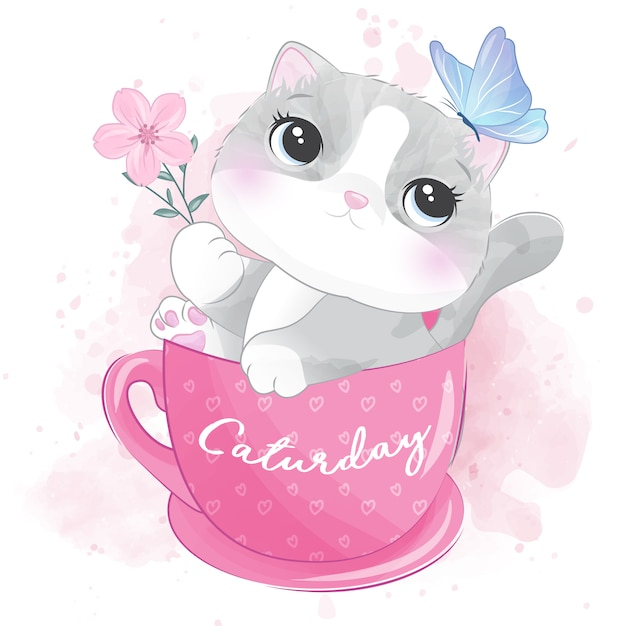 Cute kitty inside the cup playing with butterfly Premium Vector