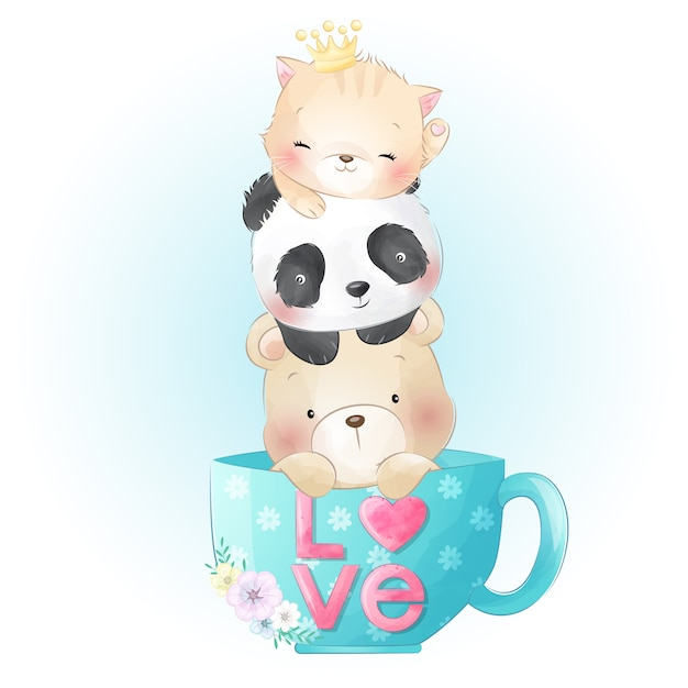 Cute kitty, panda and bear sitting inside the coffee cup Premium Vector