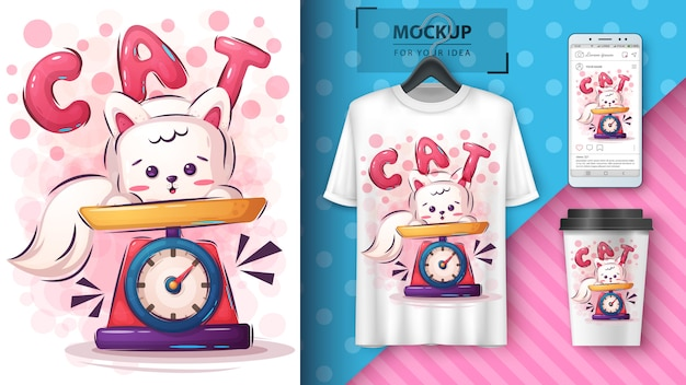 Cute kitty poster and merchandising peso Free Vector