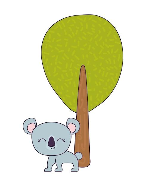 Cute koala animal with tree plant Premium Vector