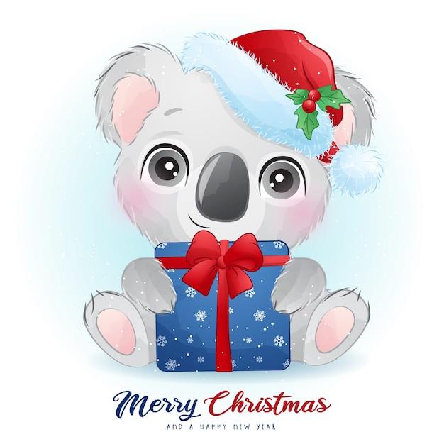 수채화 일러스트와 함께 크리스마스를위한 귀여운 코알라 곰 프리미엄 벡터