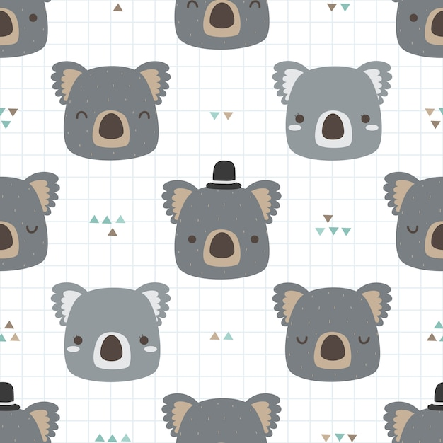 Cute koala cartoon doodle seamless pattern for kid Premium Vector
