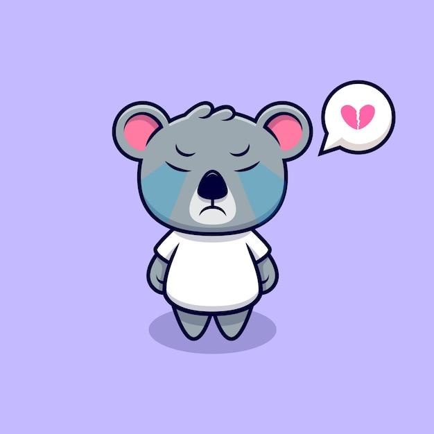 Cute koala crying mascot cartoon Premium Vector