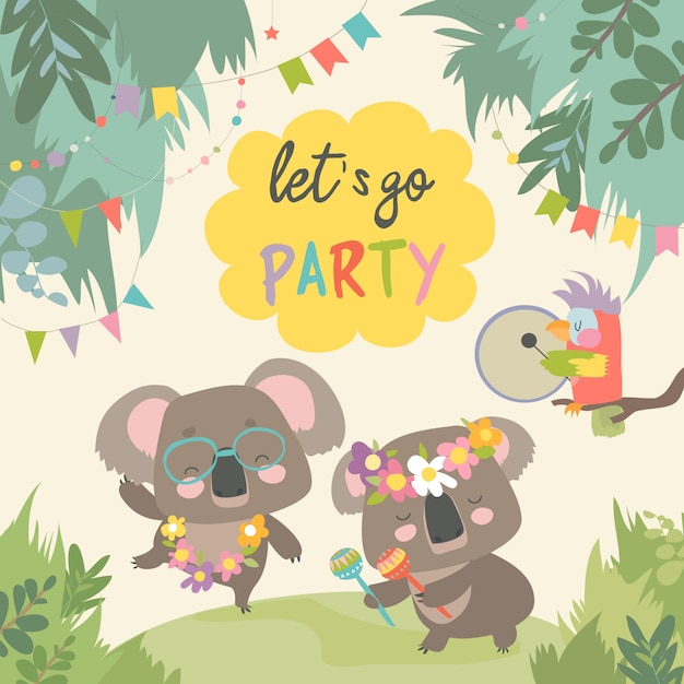 Cute koala dancing with friend Premium Vector