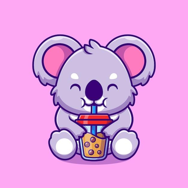 Симпатичные коала пить боба пузырь чай чашка мультфильм Premium векторы