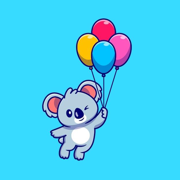 Koala sveglio che galleggia con l'illustrazione dell'icona del fumetto del pallone. natura animale icona concetto isolato. stile cartone animato piatto Vettore gratuito