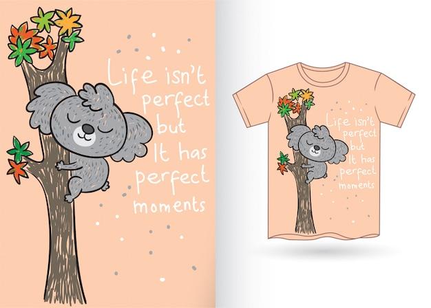 Cute koala hand drawn for t shirt Premium Vector