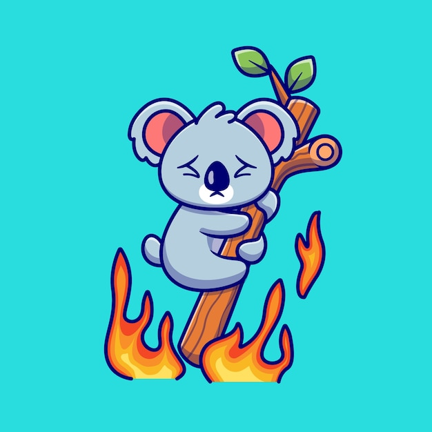 Cute koala hanging on burning tree cartoon . animal nature icon concept isolated  . flat cartoon style Free Vector