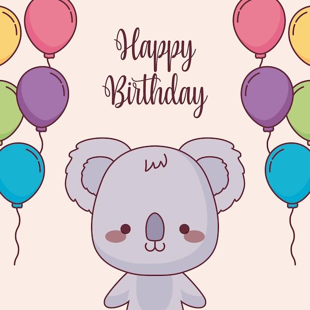 Cute koala happy birthday card with balloons helium Premium Vector