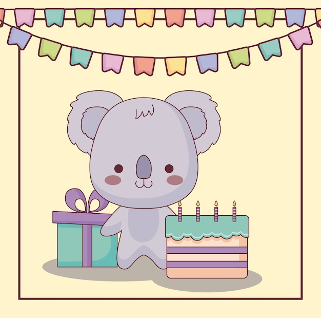 Cute koala happy birthday card with cake and icons Premium Vector