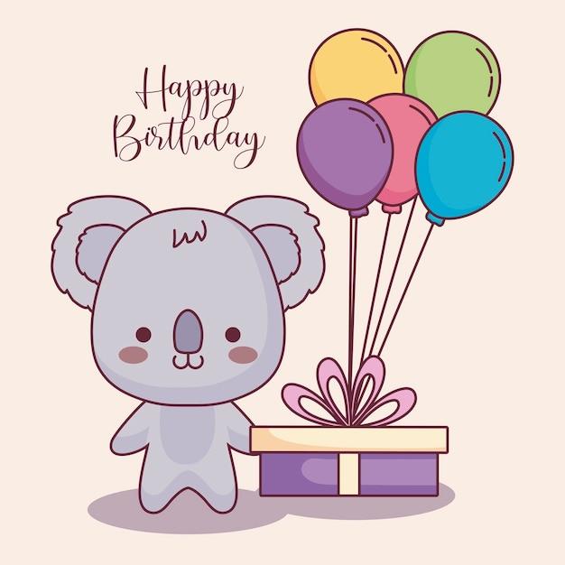 Cute koala happy birthday card Premium Vector