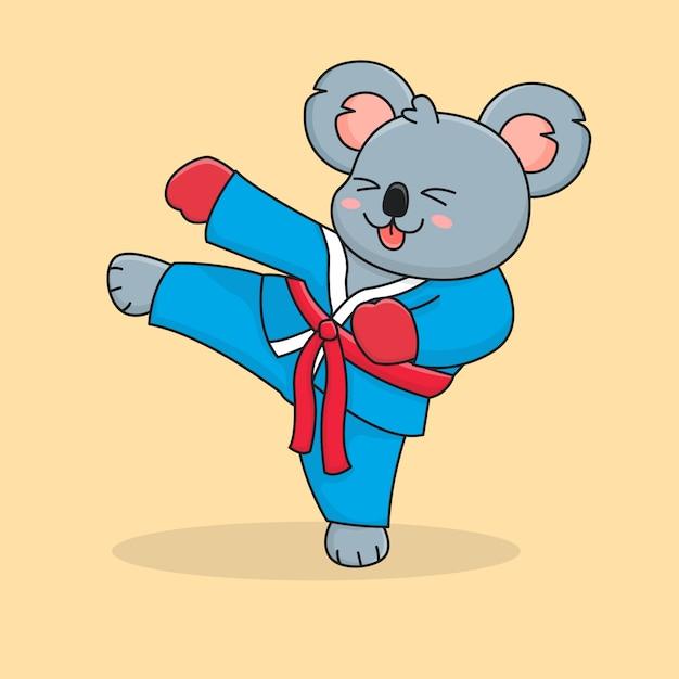 Cute koala kicking Premium Vector