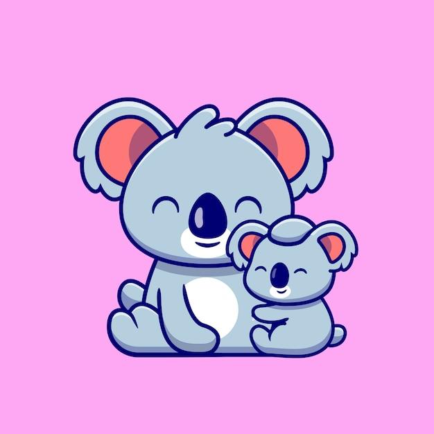 Cute koala madre con baby koala cartoon. natura animale icona concetto isolato. stile cartone animato piatto Vettore gratuito