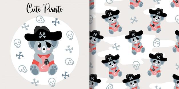Cute koala pirate animal seamless pattern with baby card Premium Vector
