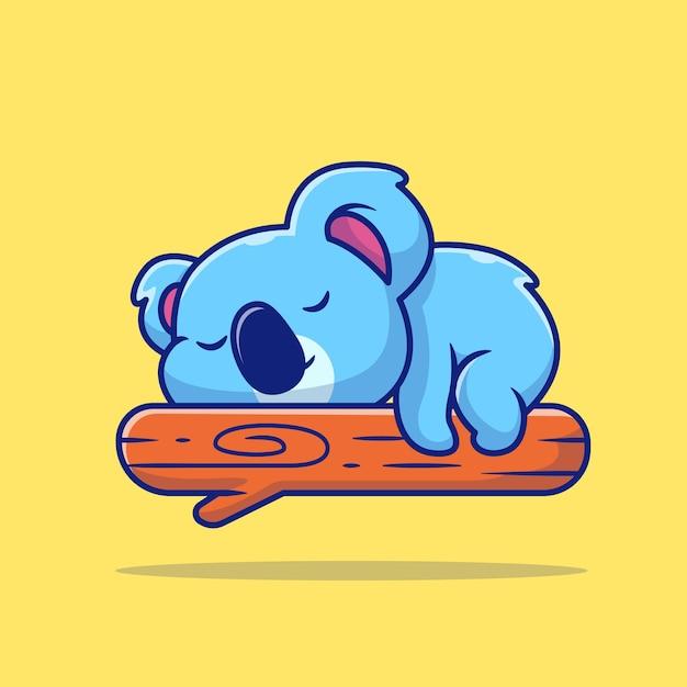 Cute koala sleeping on tree cartoon illustration Free Vector