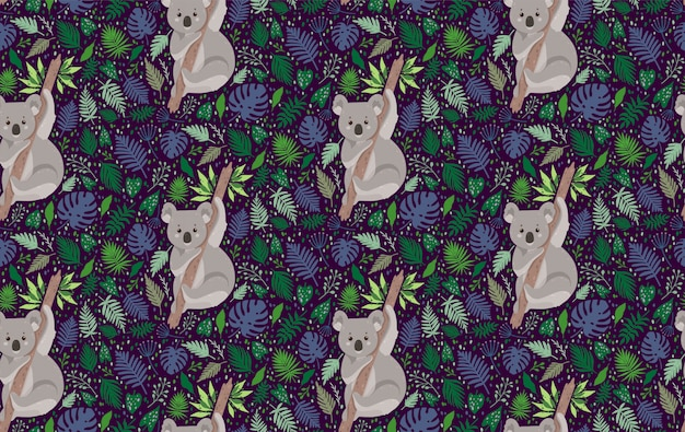 Cute koala surrounded by leaves. summer vector seamless pattern in trendy style Premium Vector