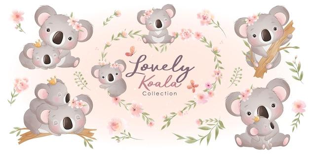 꽃 컬렉션과 귀여운 코알라 프리미엄 벡터