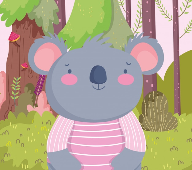 Cute koala with striped shirt cartoon character forest foliage nature Premium Vector