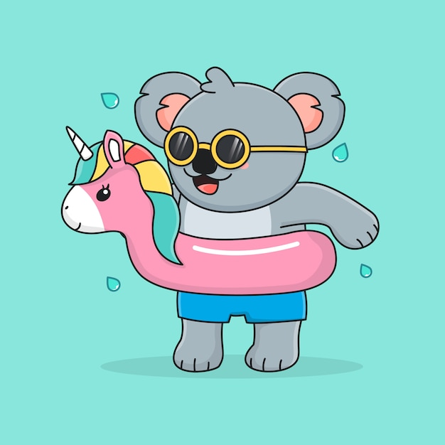 Симпатичная коала с плавательным кольцом единорога и солнцезащитными очками Premium векторы